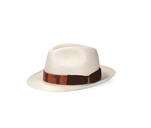 Medium-brim Extra-fine Panama  with Caiman band