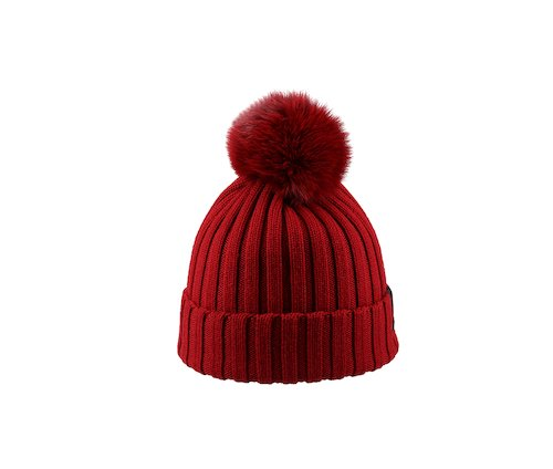 Rib-knit beanie with pom-pom
