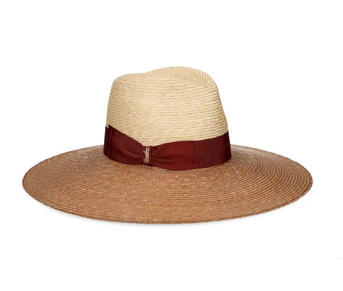Two-tone Braided Straw wide-brimmed