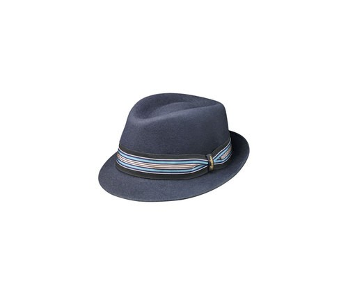 Brushed felt striped Trilby hat